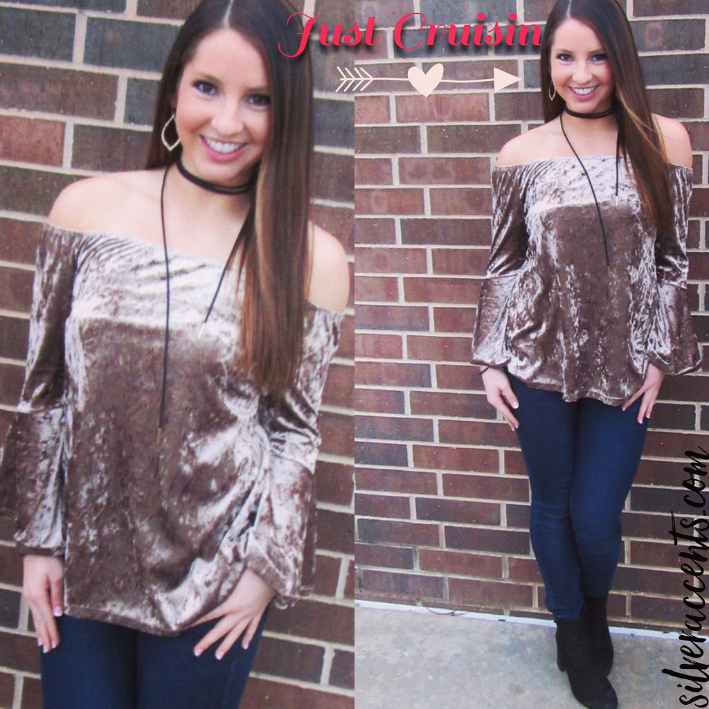 JUST CRUISIN Velvet Off Shoulder Bell Sleeve Top