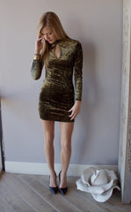 BRIGHT SIDE Velvet Cutout Bodycon Dress