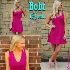 BOBI BLACK Berry QUANDARY DoubleKnit Fit&Flare Dress