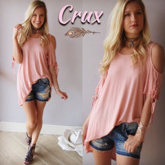 CRUX LaceUp Sleeve ColdShoulder Jersey Top
