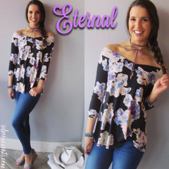 ETERNAL Floral OffShoulder StretchKnit Top