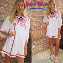 BOHO BLISS Embroidered V-Neck Short BellSleeve Dress