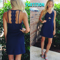 Navy PARTITION Cutout LaceBack Textured Bodycon Dress