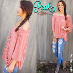 PEAK Smocked OffShoulder CrossOver Gauze Top