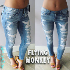 FLYING MONKEY Fuse Patch EMPTY PROMISES Super Distress Skinny Jean
