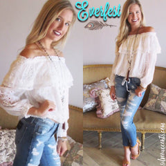 EVERFEST Embroidered Eyelet Ruffled OffShoulder