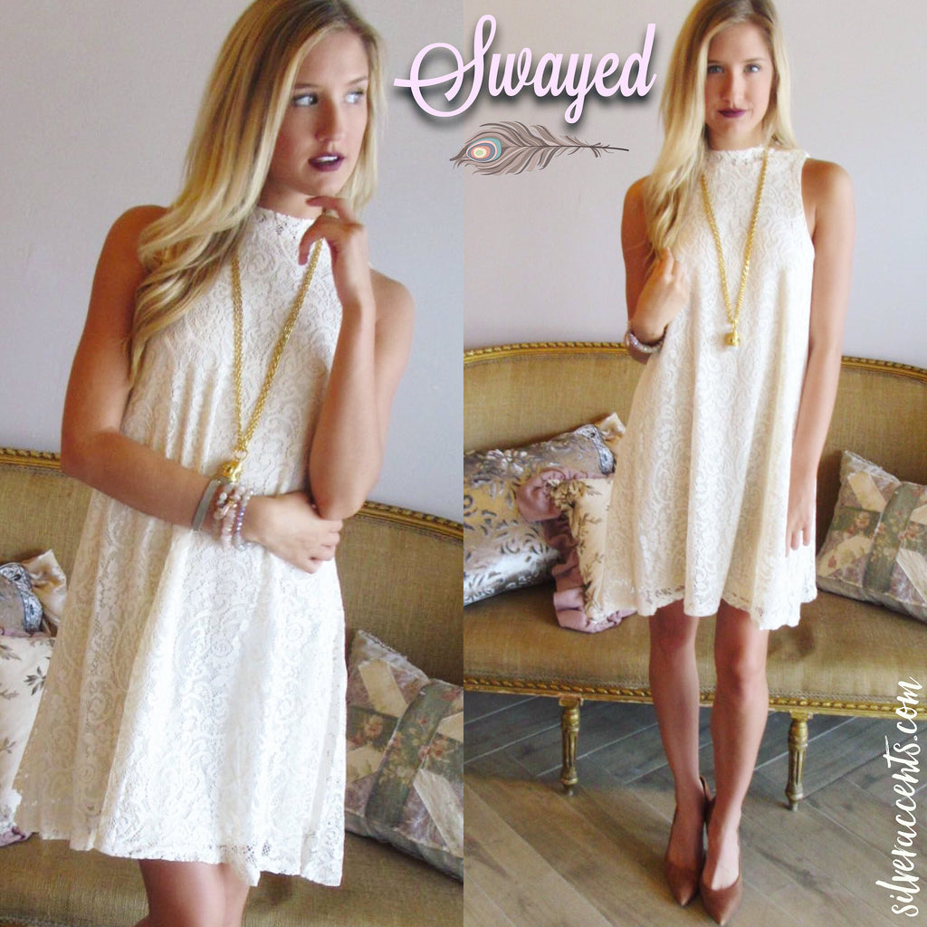 SWAYED Lace HiNeck Swing Dress