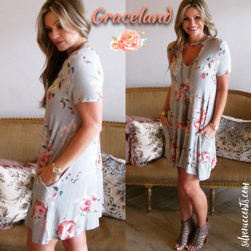 GRACELAND Floral Jersey Cutout Neck Pocket Dress