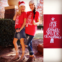 JOY LOVE PEACE SAVIOR CHRISTMAS TriBlend Canvas Graphic Tee Top