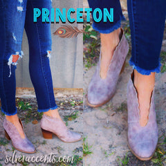 PRINCETON Scalloped U-Cut Distressed Bootie Shoe