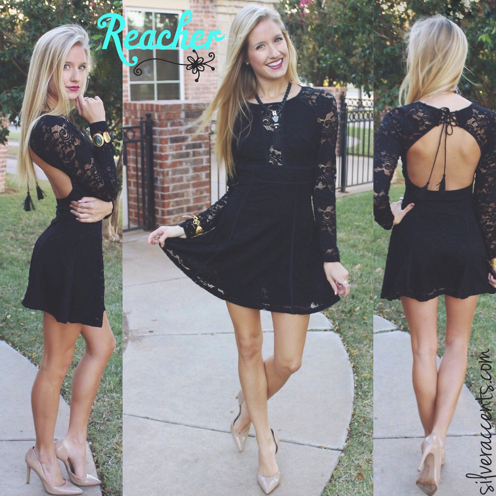 REACHER LaceUp OpenBack Fit&Flare Lace Dress