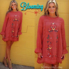 BLOOMING Embroidered Floral LongSleeve A-Line Dress