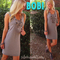 BOBI Stripe LONDON FOG Henley Neck Tank Dress