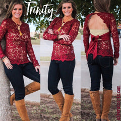 Sangria TRINITY Lace Open Back TieBack Top