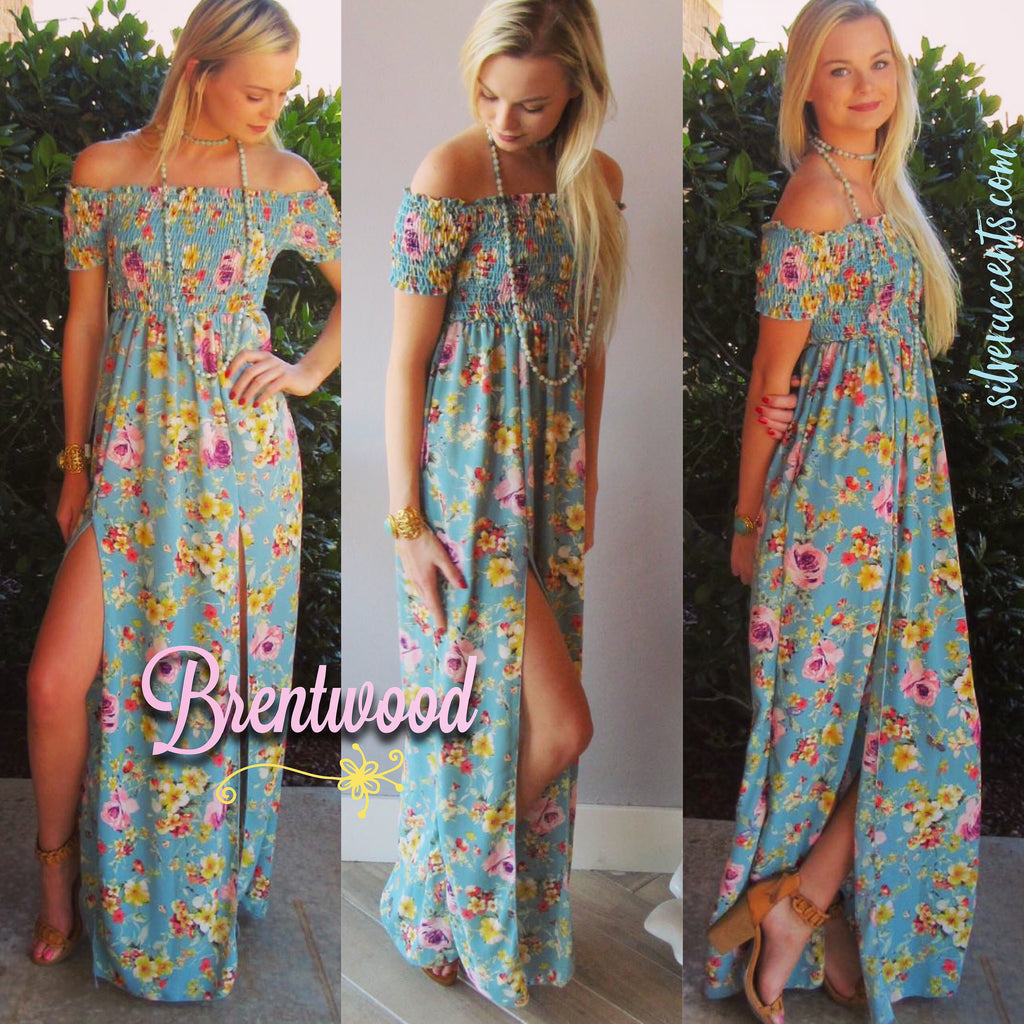 BRENTWOOD Floral Smocked OffShoulder Slit Maxi Dress
