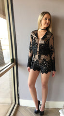 READY OR NOT 2pc Lace TieFront Top/Short Set