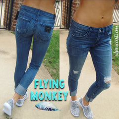 FLYING MONKEY Cuffed Distressed MICHIGAN BLUE Girlfriend Jean