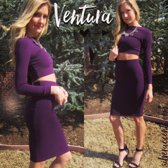 VENTURA 2pc Crop Top/Pencil Skirt Set