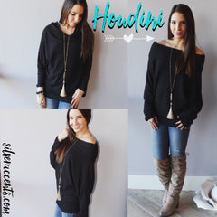 HOUDINI WaffleKnit Multi-Way Dolman Sleeeve Tunic Top