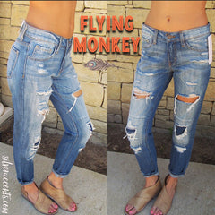 FLYING MONKEY Heavy Distress BEEPER BLUE Vintage Patch Boyfriend Jeans