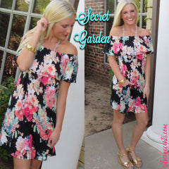 SECRET GARDEN Floral Ruffled OffShoulder Jersey Knit Dress