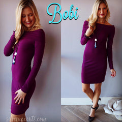 BOBI Jersey NOUVEAU Foldover OffShoulder Dress