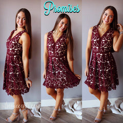 PROMISES Cutout Crochet Lace Fit&Flare Dress