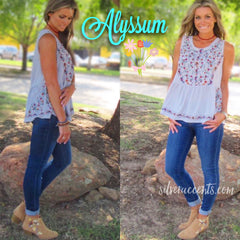 ALYSSUM Floral Embroidered Babydoll Tank Top