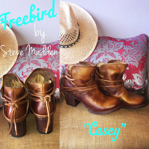 FREEBIRD by STEVEN Cognac CASEY TieBack Bootie Shoes