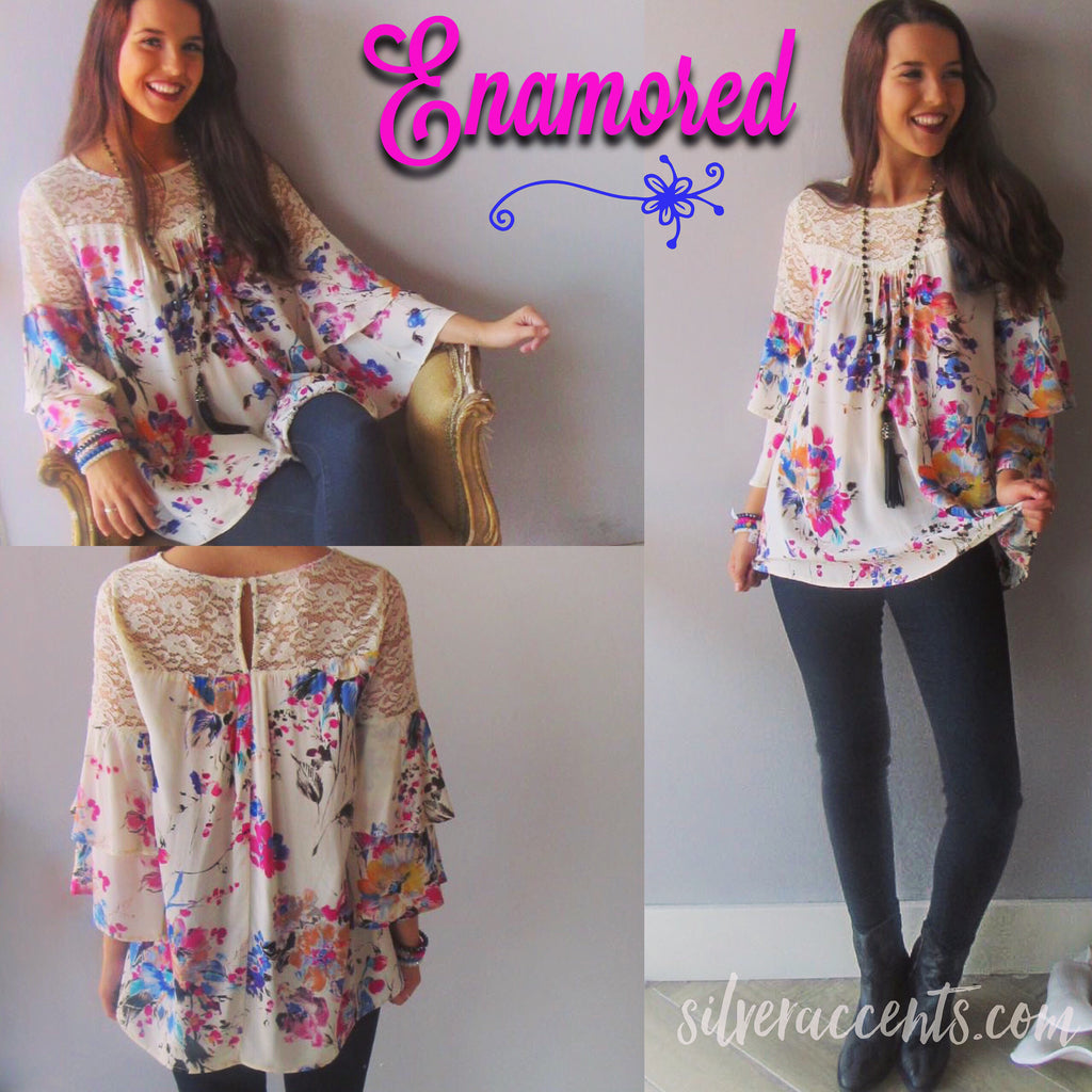 ENAMORED Lace Yoke Floral Print RuffleSleeve Top
