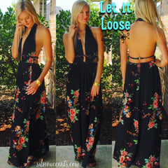 LET IT LOOSE Floral Braided Detail Halter Maxi Dress