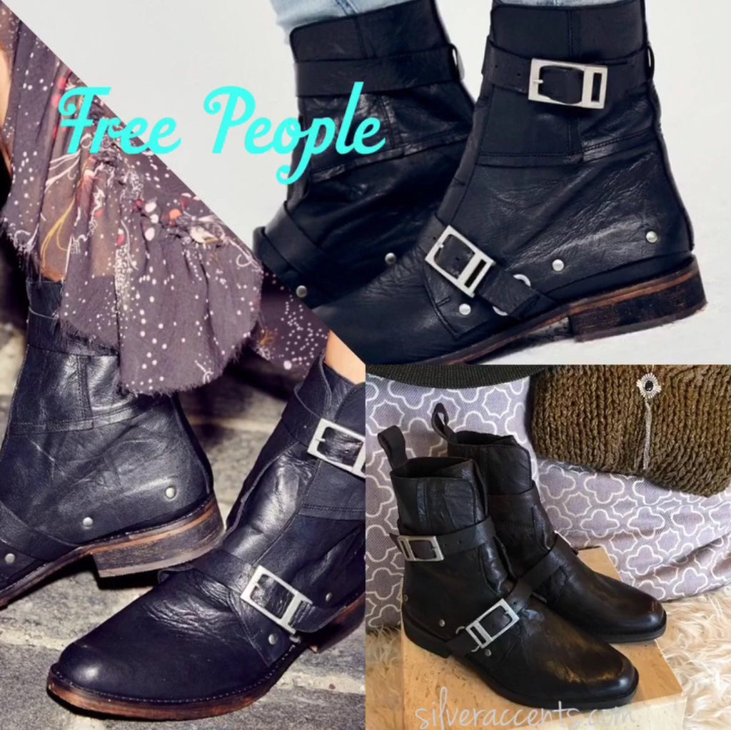 FREE PEOPLE Black OUTSIDERS Moto Boot Shoes