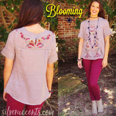 BLOOMING Embroidered Floral A-Line Top