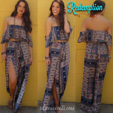 REDEMPTION 2pc Tile Print OffShoulder CropTop/Pant Set