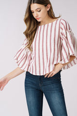 HELENA Stripe Bishop Sleeve Top
