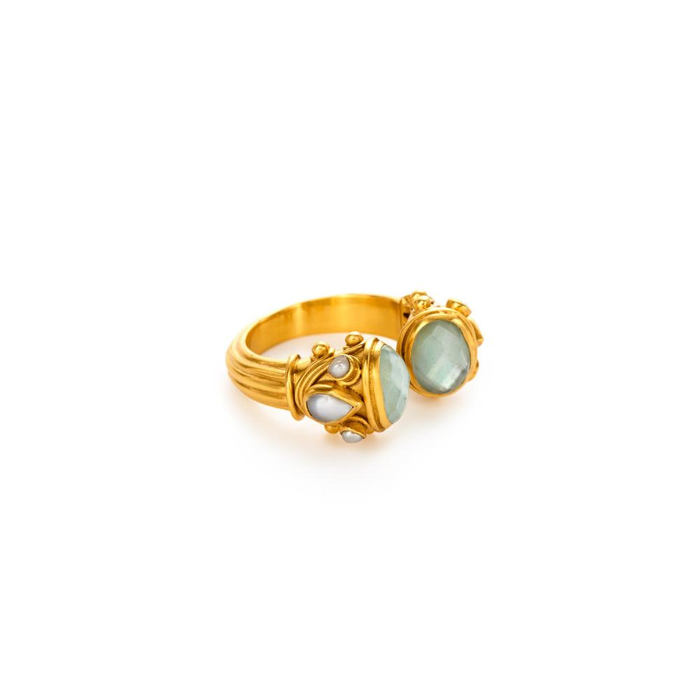 JULIE VOS BYZANTINE Iridescent Aquamarine Blue Ring