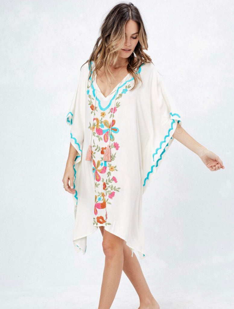 PLAYA Floral Embroidered Caftan Top