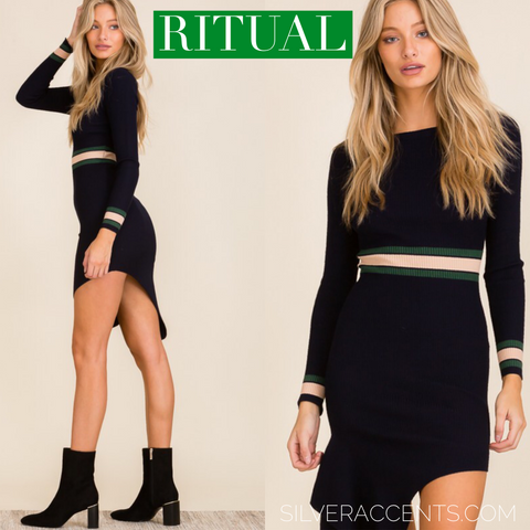 RITUAL BoatNeck StripeDetail Asymmetric RibKnit Dress