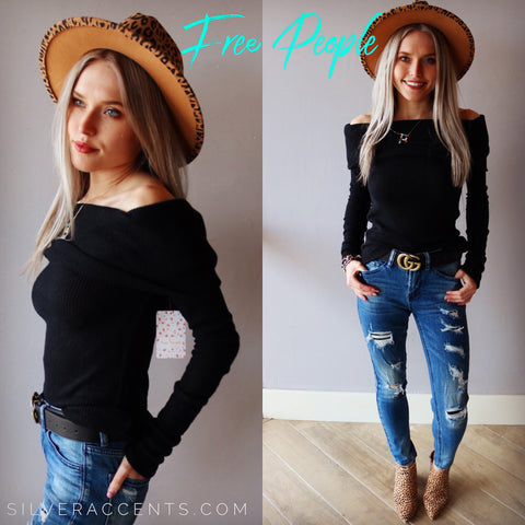 FREE PEOPLE Black SNOWBUNNY FoldOver OffShoulder RibKnit Top