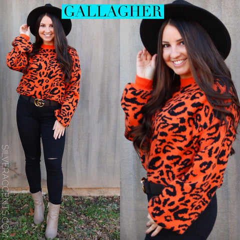 GALLAGHER Leopard Print WaistCrop Sweater