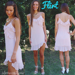 FLIRT Ruffled HiLo Hem Chiffon Dress