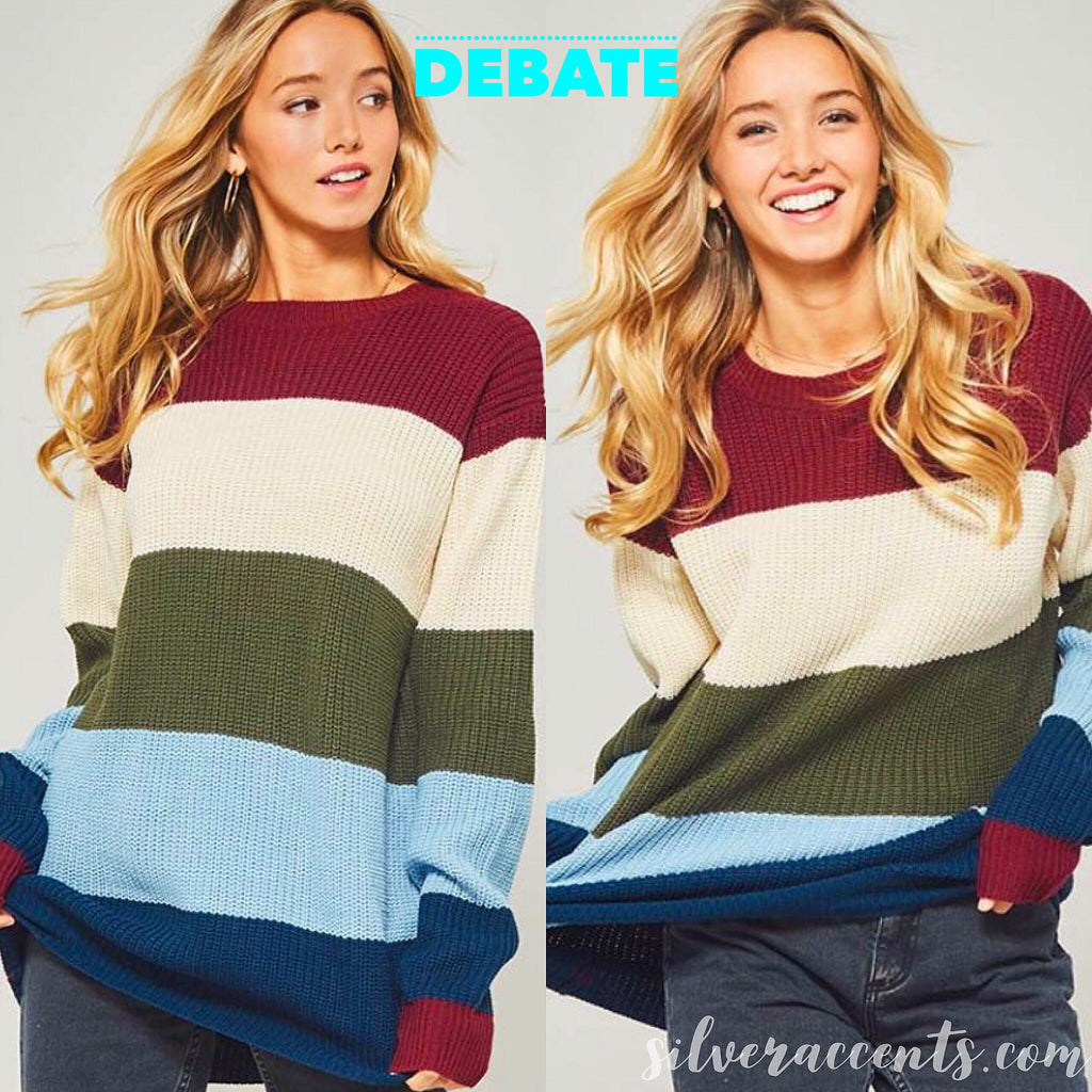 DEBATE ColorBlock Stripe CrewNeck Tunic Sweater Top