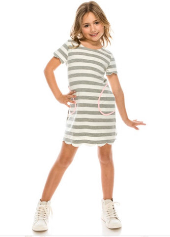 CLASS ACT Kids Stripe Contrast Scallop Hem Dress