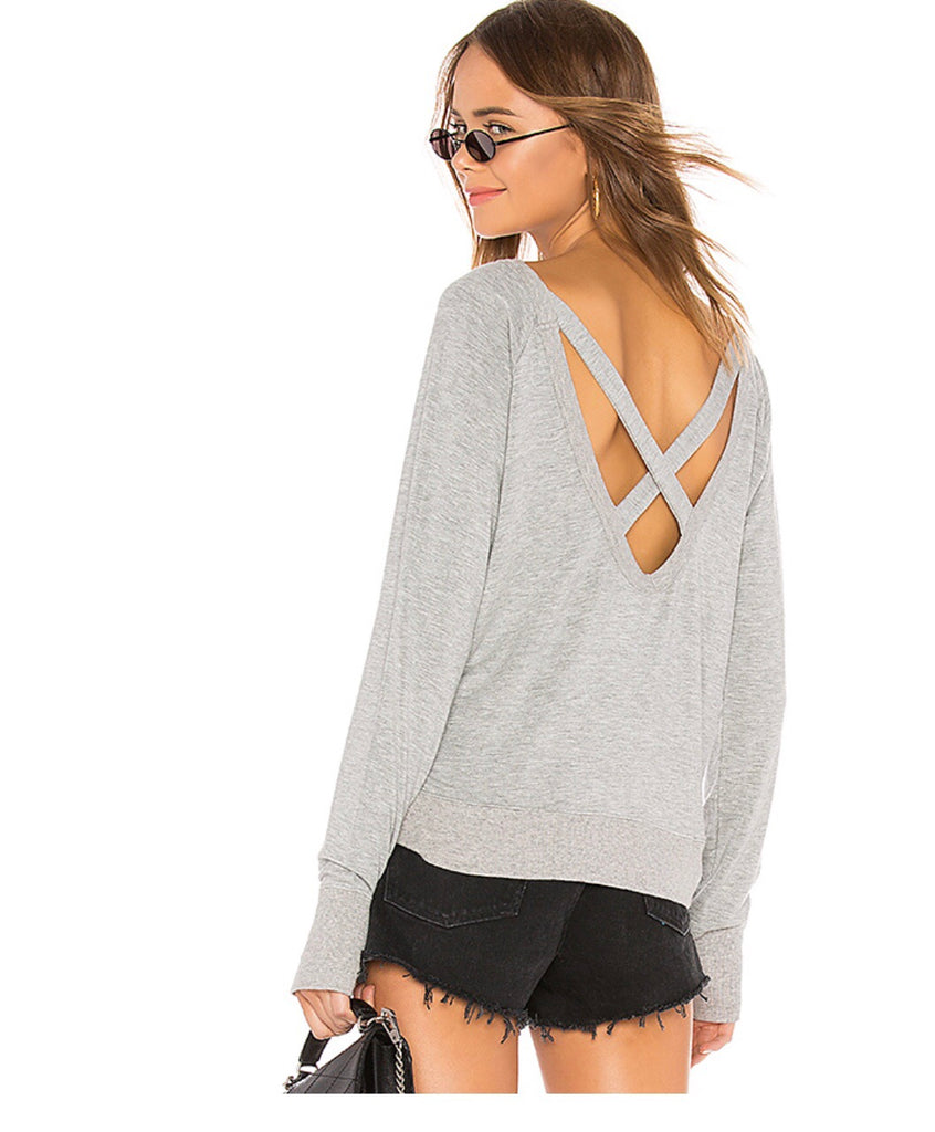 BOBI Supersoft French Terry STAND BY U Thumbhole Strappy Back Top