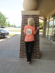 OKLAHOMA STATE Floral Circle Triblend V-Neck Tee Top