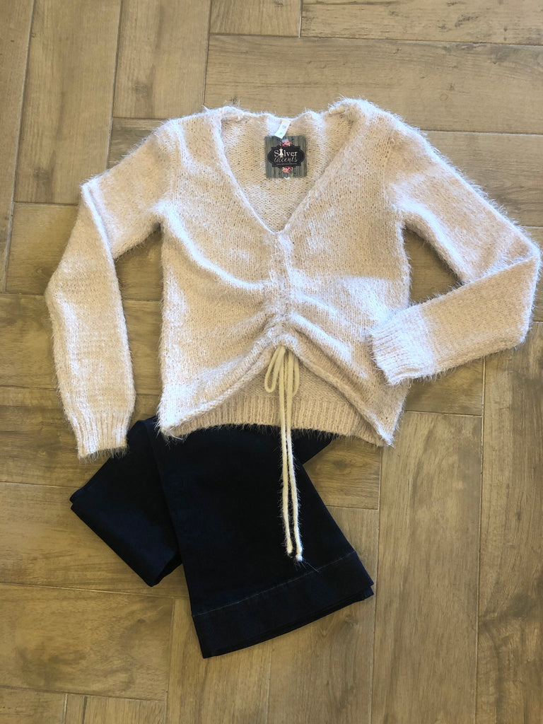 DIALED DrawString Bottom Fuzzy Sweater