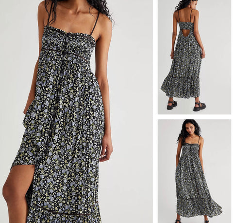 FREE PEOPLE Floral MOLLY JO Smock Cut~Out Back Midi Dress
