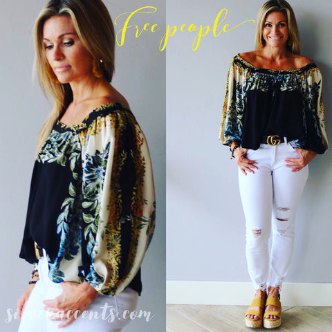 FREE PEOPLE Floral WILD MEMORIES Elbow Sleeve Top