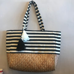 BEACH BOUND Striped Tote With Tassels