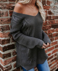 STOKED CableKnit StrappyBack Tunic Sweater